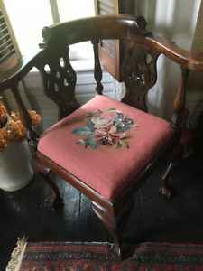 Antique Mahogany Corner Chair.  Needlepoint Seat