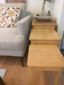 3 piece solid wood nest of tables