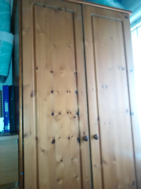 solid pine single wardrobe, unmarked