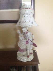 French provincial lamp figure man and lady