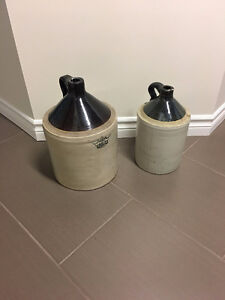2 Antique Crown Crock Jugs
