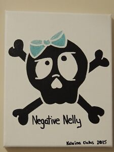 Negative Nelly Skull- Acrylic Painting