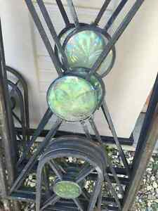 VINTAGE METAL ARCH WITH GLASS BUTTERFLY DECOR