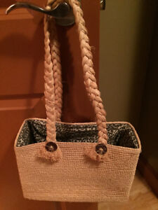 Chico's Straw Bag, fully lined with interior zip pocket