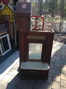 VINTAGE POST OFFICE MONEY ORDER GLASS WOOD STORE COUNTER WINDOW