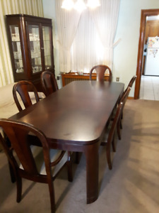Dining Table, 6 Chairs and Lighted Hutch for sale