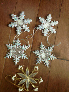 assorted glittery snowflake ornaments
