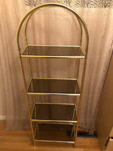 Vintage Brass and Glass Open Shelf. Great Condition