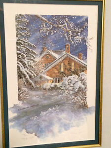 Stunning Winter scene painting by local Paris artist Kitchener / Waterloo Kitchener Area image 1
