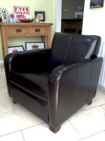 Habitat Dark Brown Leather Chair