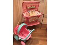 Dolls changing unit and pushchair