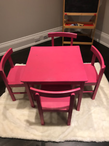 Play table, chairs and toy box