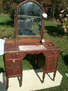 "ANTIQUE VANITY WITH MIRROR. 42"" WIDE, 191/4"" DEEP, 32"" HIGH."