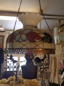 Vintage stain glass Tiffany ceiling light.