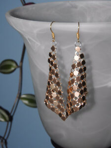 Re-purposed gold coloured dangle earrings ($7)