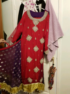 Red and purple long dress