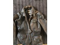 Leather jacket distressed brown size small