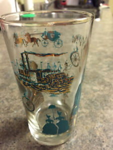Vintage Gold & Turquoise drinking glasses