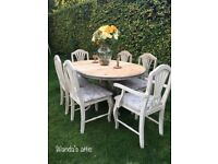 Hand painted pine shabby chic dining table and chairs