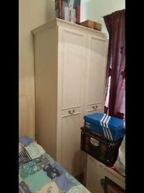 White two door wardrobe, solid build also in excellent condition