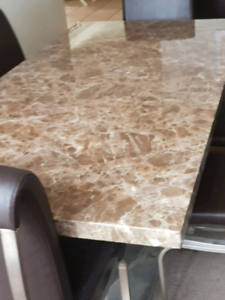 Marble dinning table and 6 chairs