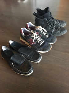 3 pairs of shoes: New Balance, Converse, Aldo SZ 10.5-11
