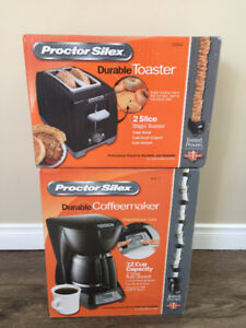 Brand New Proctor Silex Durable Coffee Maker and Durable Toaster