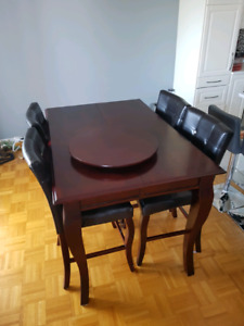 Cherry wood kitchen table 6-8 people with high chairs
