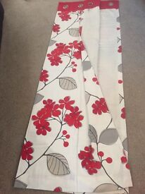 Next Lined Eyelet Red & Cream Patterned Curtains