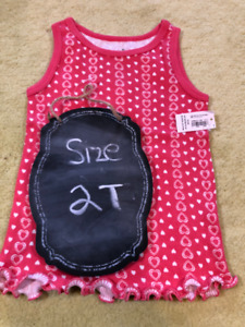 Coral Ribbed Tank Top with Hearts Brand new with TAGS - 2T