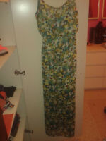 Long Spaghetti Strap Dress with Floral Pattern
