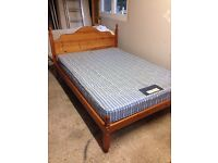 Solid pine double bed and mattress