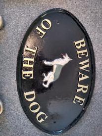 Cast iron beware dog sign