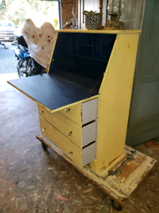 SHABBY CHIC YELLOW & BLUE SOLID WOOD SECRATARY DESK