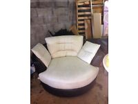 Leather cuddle sofa