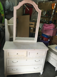 Dresser with Mirror, Shelves and Nightstand