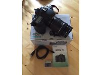 Canon 7D boxed with lens, filters, extra batteries and cards