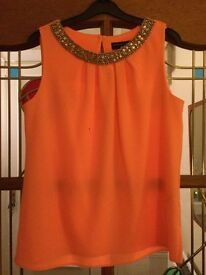 Dorothy Perkins Bright Peach Dress Top With diamanté & Beaded detail £35.99