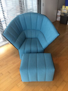 Ligne Roset Moel Highback Chair and Ottoman Turquoise