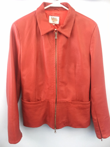 Women's Classic Red Leather Jacket - Made in Italy
