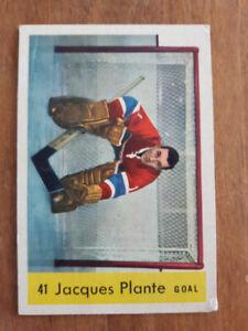 CARTE HOCKEY CARD ORIGINAL DE JACQUES PLANTE 1959 H.O.F