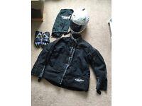 Motorbike jacket, helmet & gloves