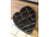 Large wooden heart shelving unit
