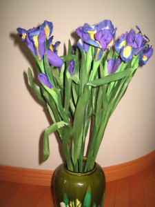 Lot of 11  artificial purple Iris flowers 24 inches tall