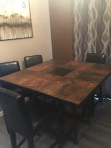 Slate Table from Scandia, 4 Leather Stools