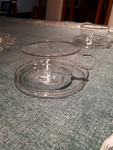 JENAER GLAS TEA CUPS AND SAUCERS