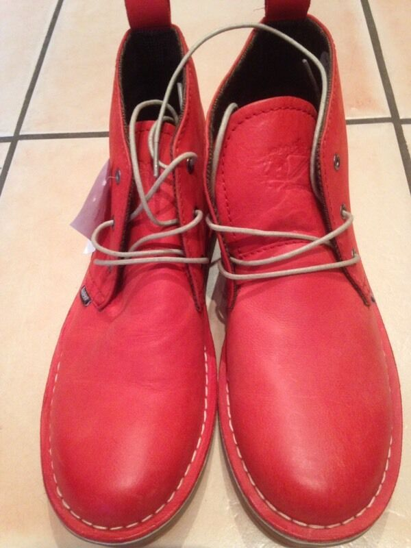 Men's Lambretta red leather boots size 7 New