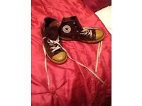 Brown leather converse trainers size 2 and a half