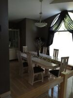 Dining Table, Hutch and Six Chairs