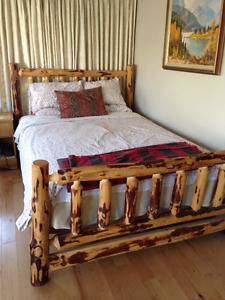 Log Bed Frame; Queen Size